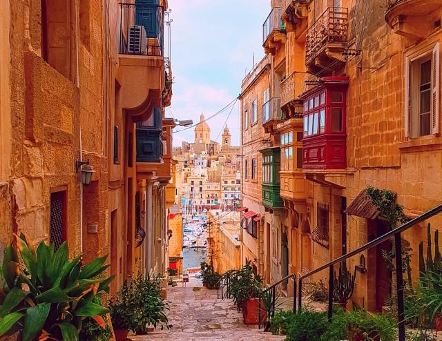 Maltese balconies, overlooking Senglea, Three Cities, Malta