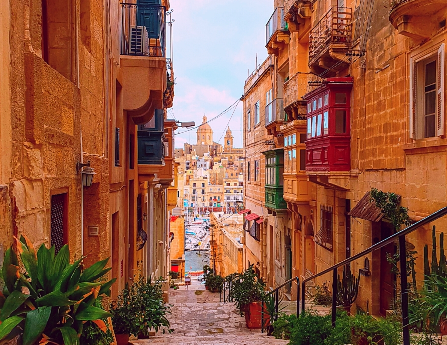 Maltese balconies, overlooking Senglea, Three Cities, Malta