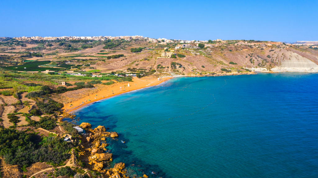 View of Ramla Bay, Gozo from Tal Mixta Cave
