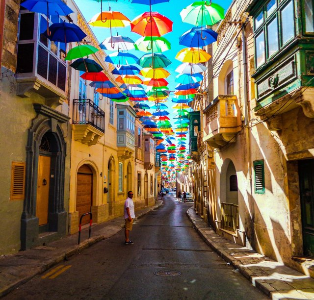 Umbrella Street in Zabbar, Malta